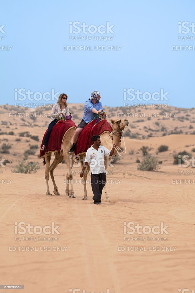 Tourists riding camels in the desert stock photo