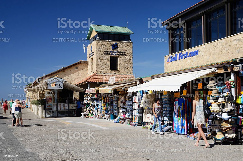 tourists shopping and walking at New Paphos harbour,Cyprus island stock photo