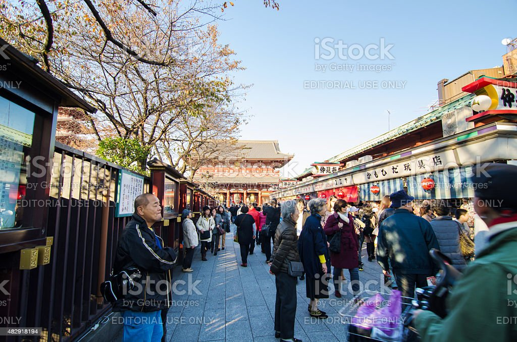 Tourists Shopping at Nakamise shopping street in Asakusa stock photo
