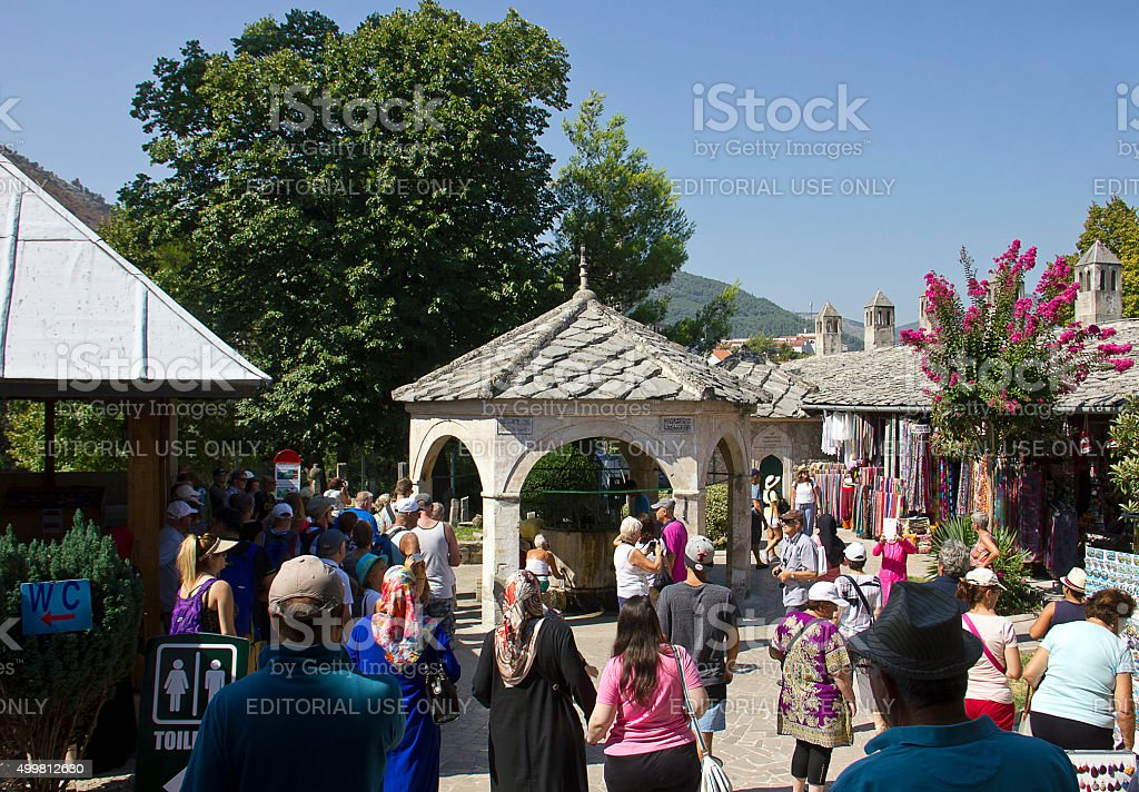 Tourists Shopping in Mostar stock photo