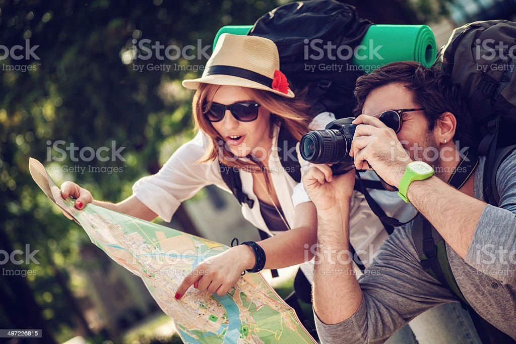 Tourists Sightseeing City stock photo
