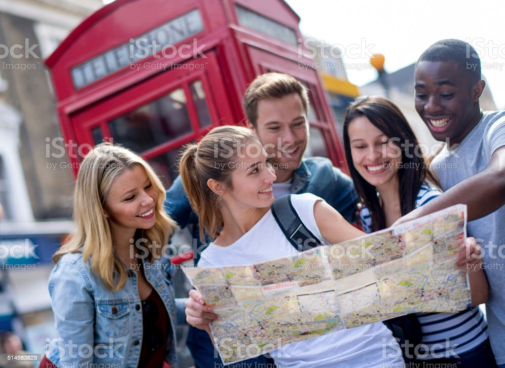 Tourists sightseeing in London stock photo