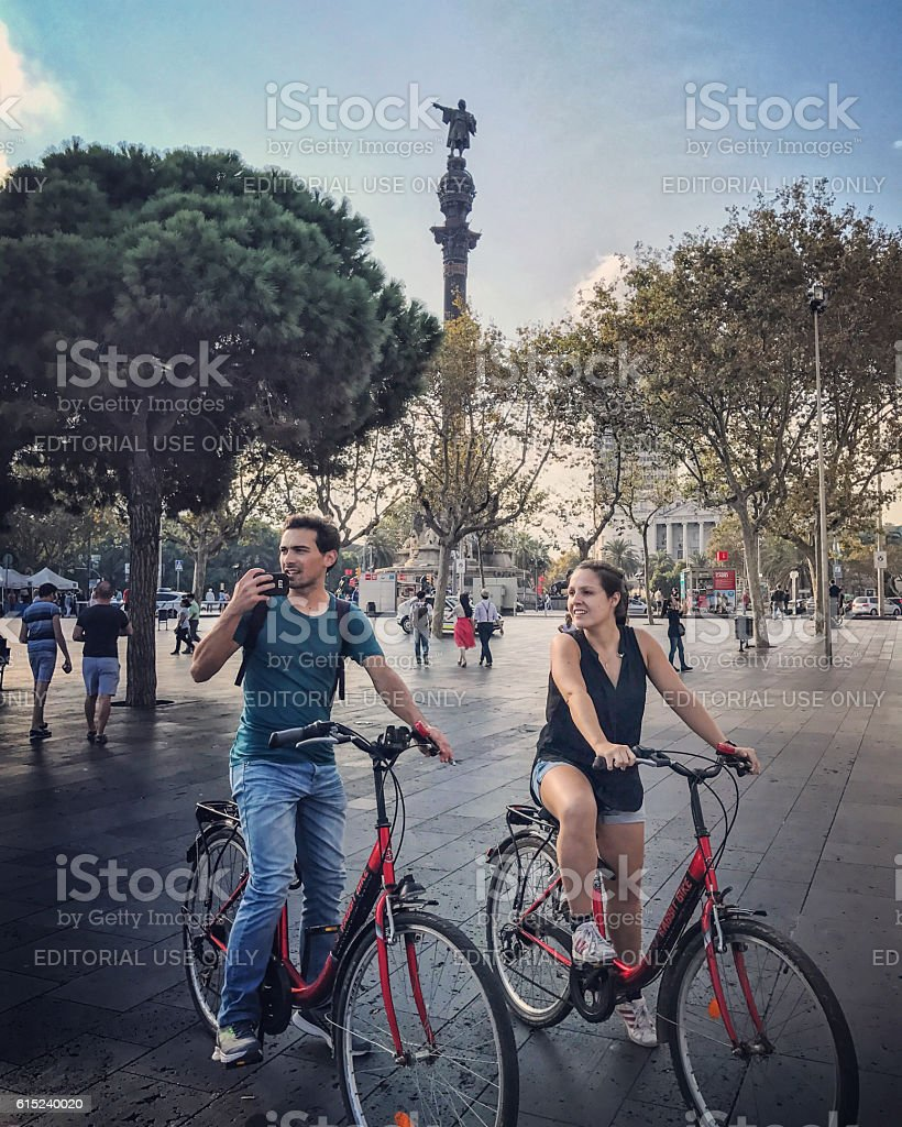 Tourists sightseeing in Port Vell, Barcelona stock photo