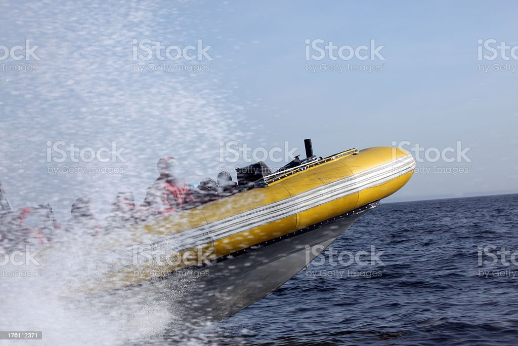 Tourists Speeding in Zodiak Boat on Water royalty-free stock photo