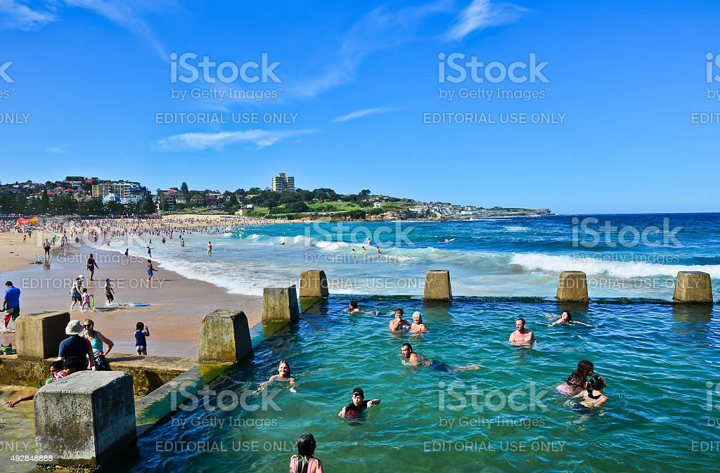 Tourists swimming in a pool at Coogee Beach stock photo