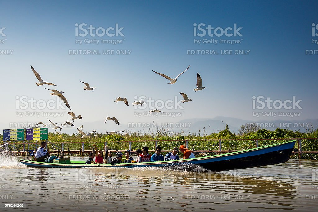 Tourists take a boat trip in Inle lake stock photo