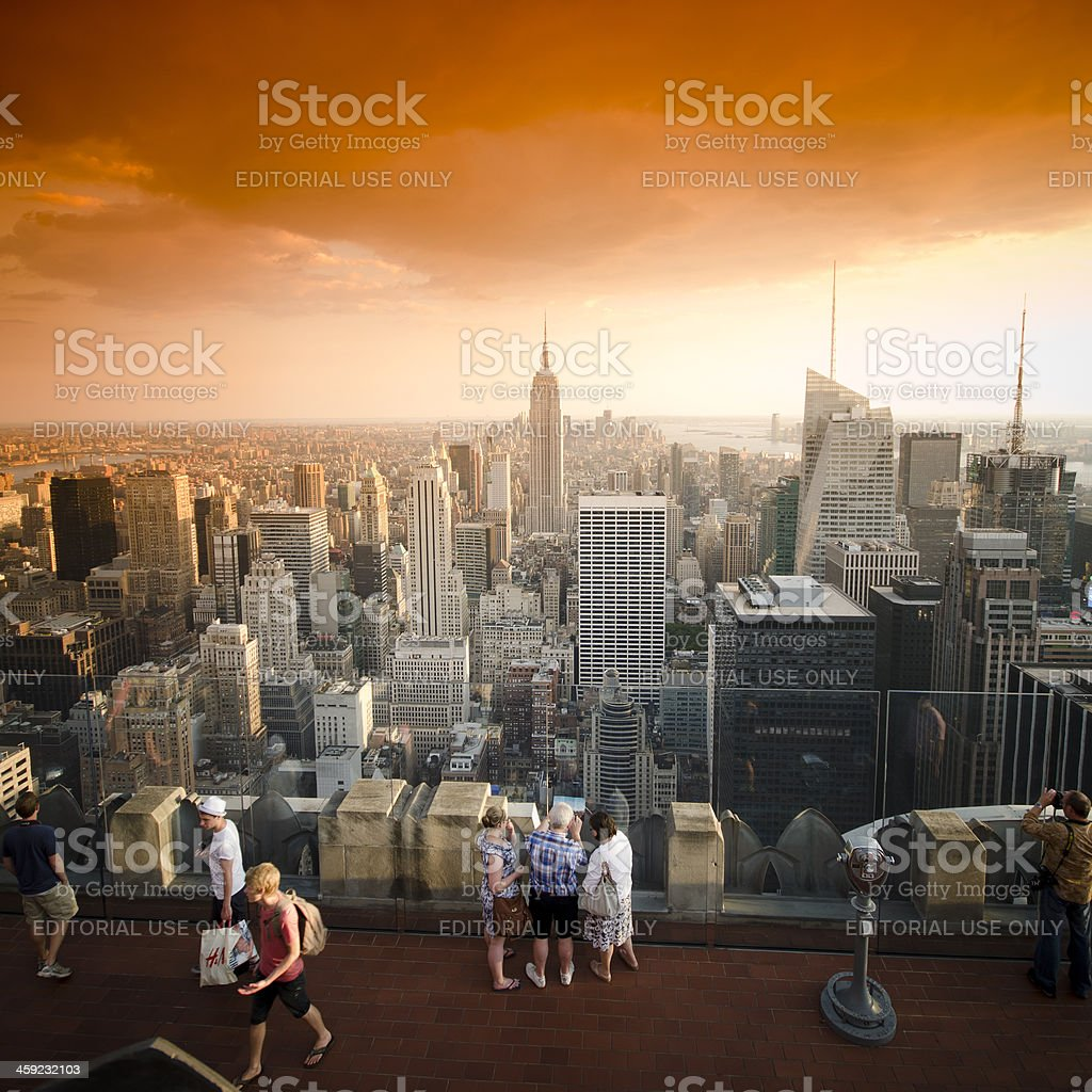 Tourists take a photo from Top of The Rock royalty-free stock photo
