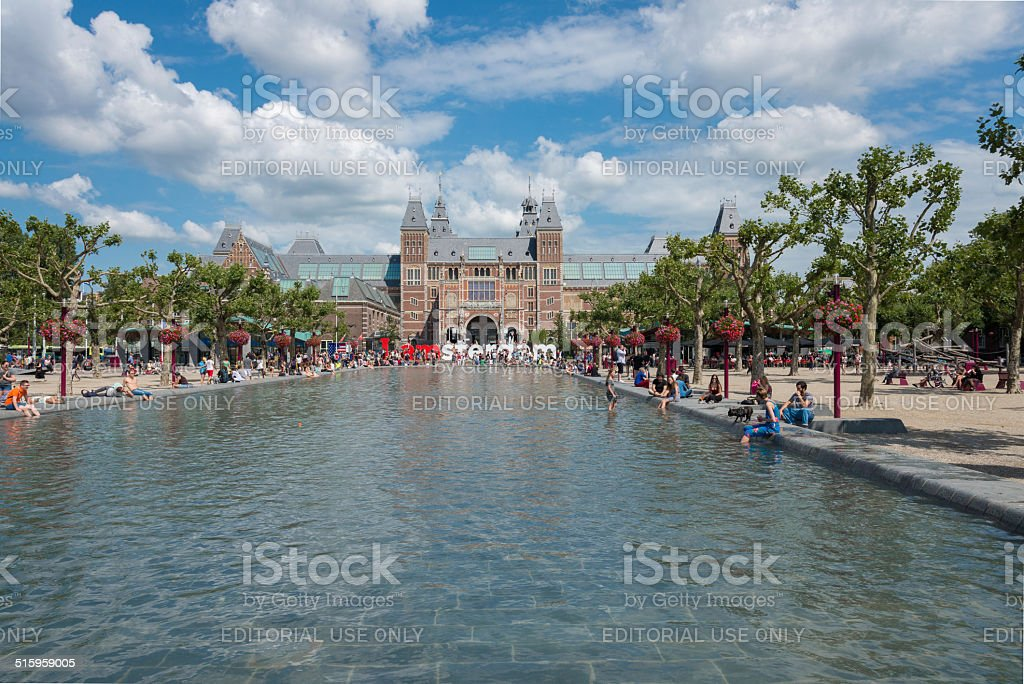 Tourists take pictures with the word giant in Museumplein stock photo