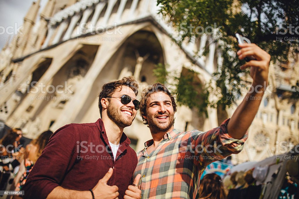 Tourists Taking a Selfie in Barcelona stock photo