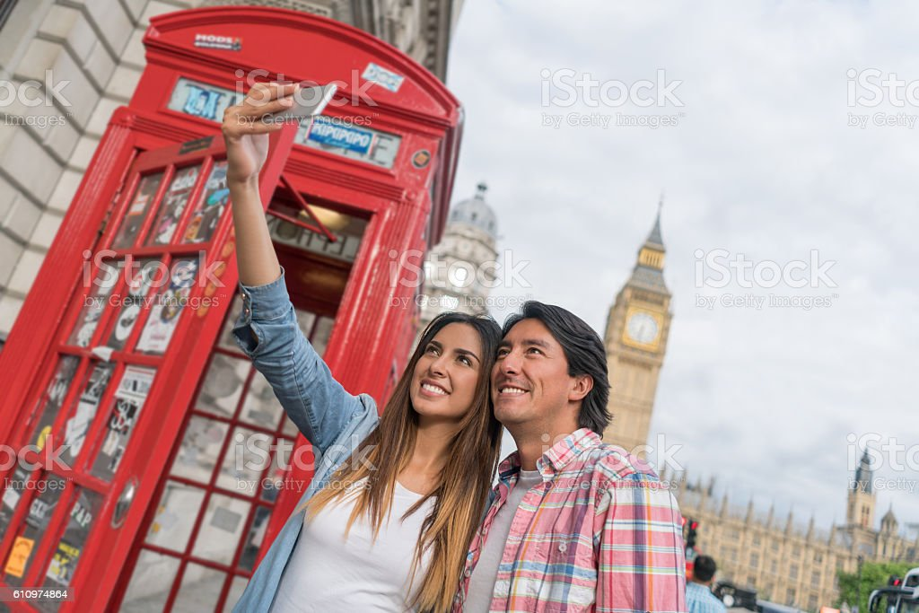 Tourists taking a selfie in London stock photo