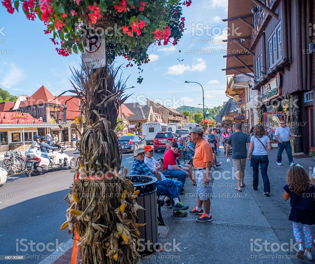 Tourists & Traffic On Parkway Street In  Gatlinburg, Tennessee stock photo
