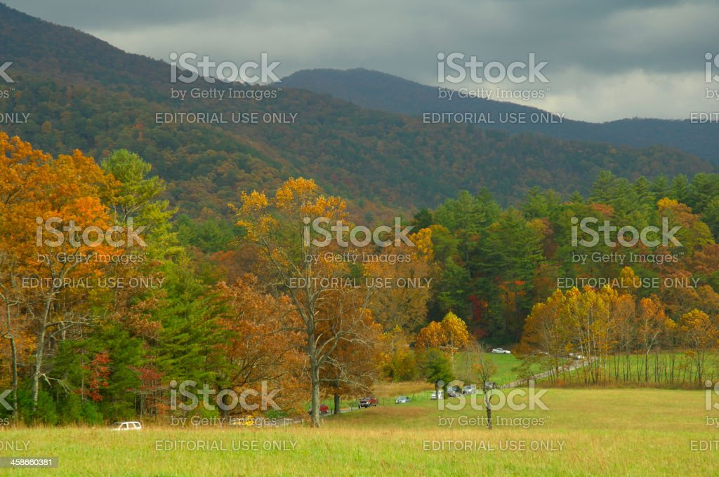 Tourists travel around Cades Cove in Great Smoky Mountains stock photo