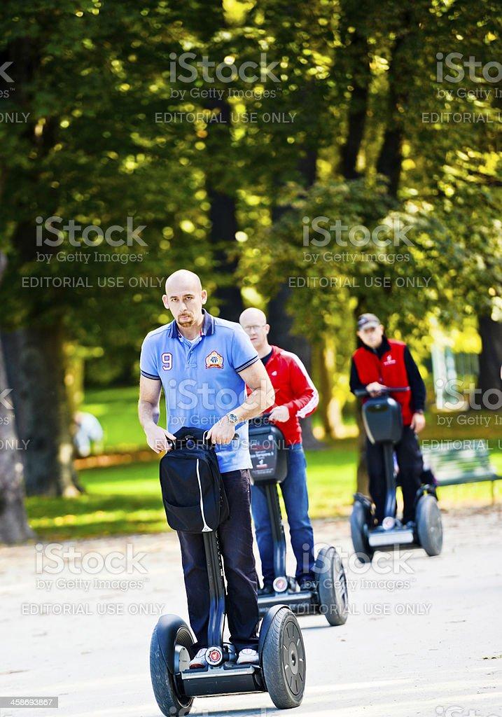 Tourists traveling on Segway through Milan, Italy royalty-free stock photo