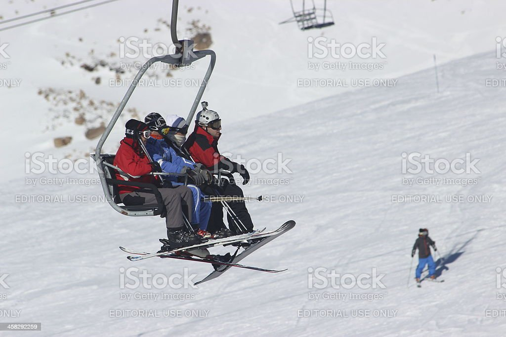 Tourists using chair lift at CERRO CATEDRAL - Andes Patagonia stock photo