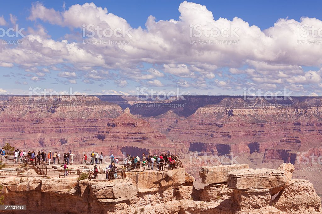 Tourists viewing the Grand Canyon stock photo