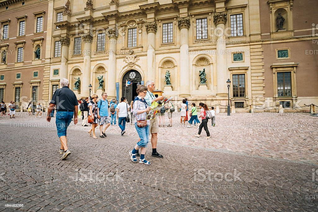 Tourists visit at Royal palace in Gamla Stan, Stockholm, Sweden stock photo