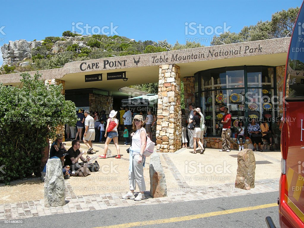 Tourists visit Cape Point, South Africa. stock photo