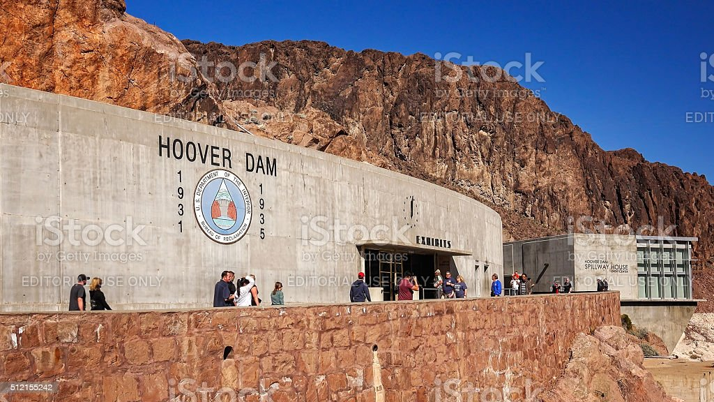 Tourists Visit Exhibition Hall at Hoover Dam stock photo