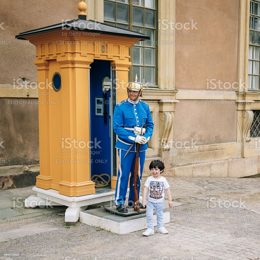 Tourists visit guard of honor at Royal palace in Stockholm stock photo