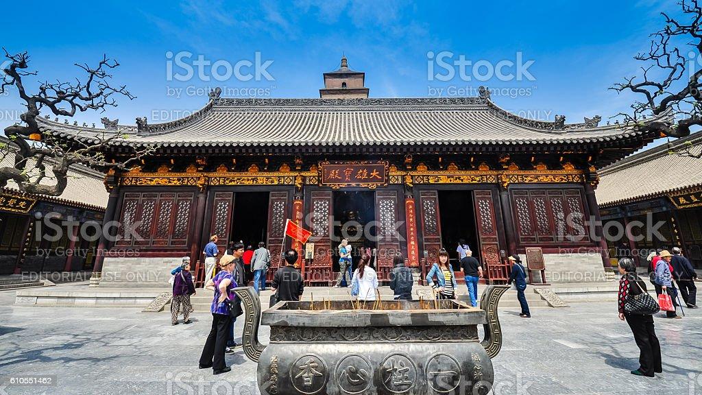Tourists visit Hall of Sakyamuni - Xian, China stock photo