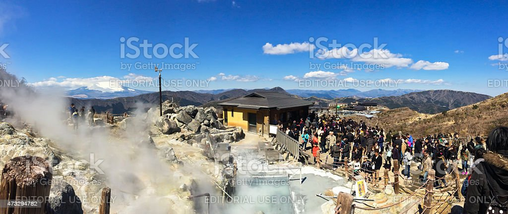 Tourists visit Owakudani hot spring area near Lake Ashi stock photo