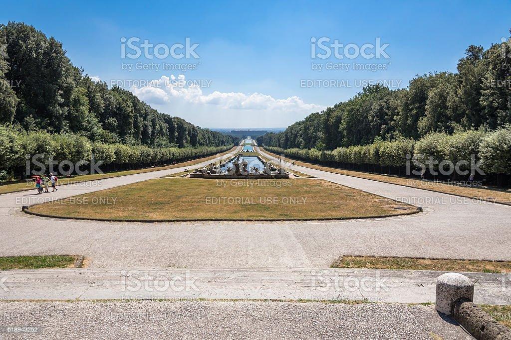 Tourists visit park at Royal Palace of Caserta stock photo