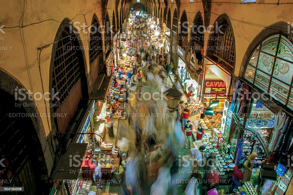 Tourists visit Spice Bazaar, Istanbul, Turkey stock photo