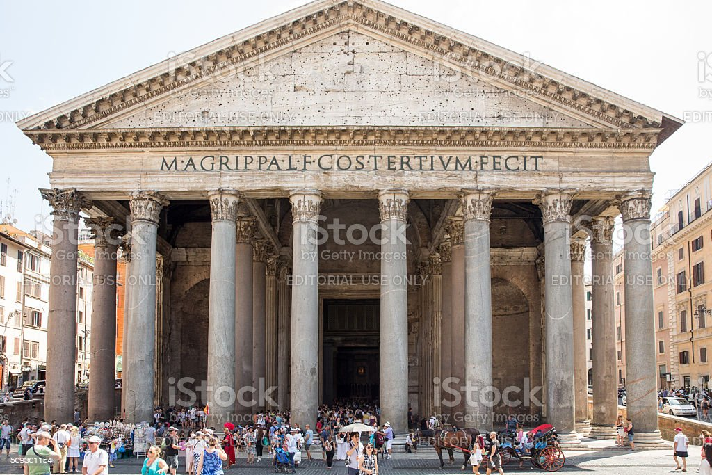 Tourists Visit the Pantheon in Rome stock photo