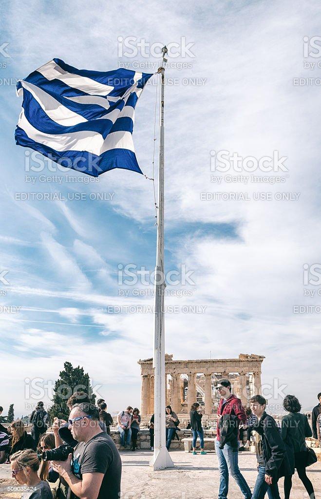 Tourists visit the Parthenon stock photo