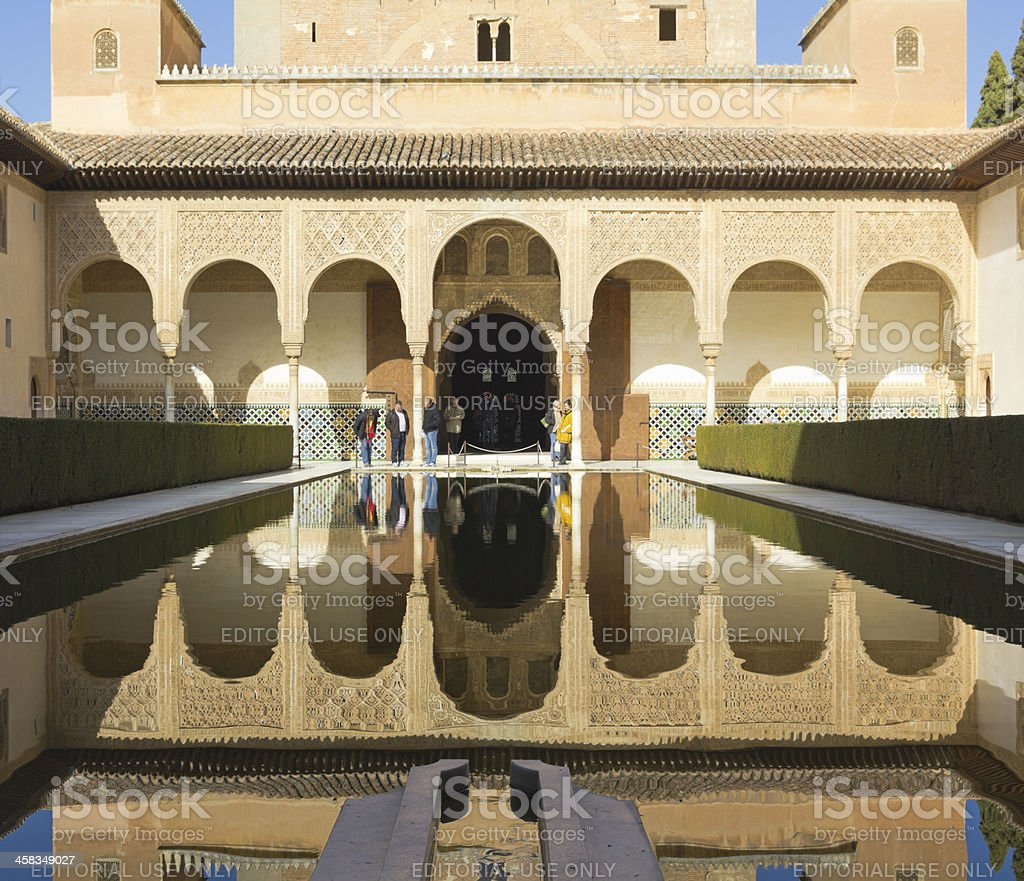 Tourists visit The Royal Complex of Alhambra royalty-free stock photo