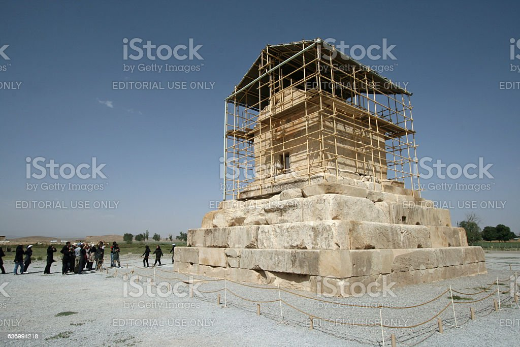 Tourists visit the Tomb of Cyrus in Pasargadae stock photo