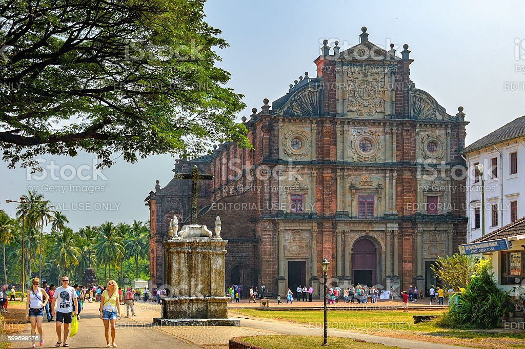 Tourists visit to Basilica of Bom Jesus, Goa, India stock photo