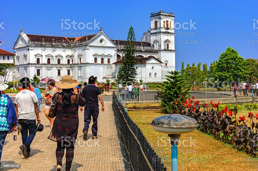 Tourists visit to Church of St. Francis of Assisi stock photo