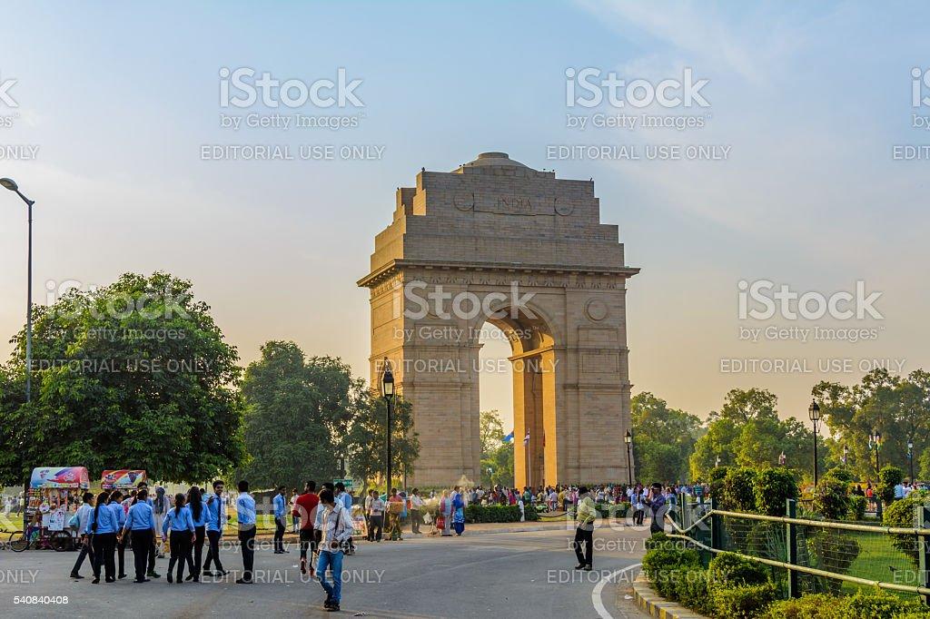 Tourists visit to India gate, Delhi, India stock photo
