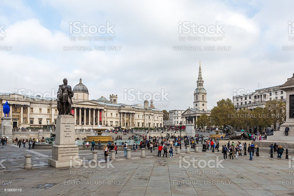 Tourists visit Trafalgar Square stock photo