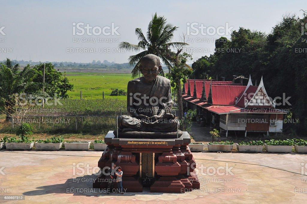 Tourists visit Wat Khun Inthapramun, Ang Thong Province, Thailand. stock photo