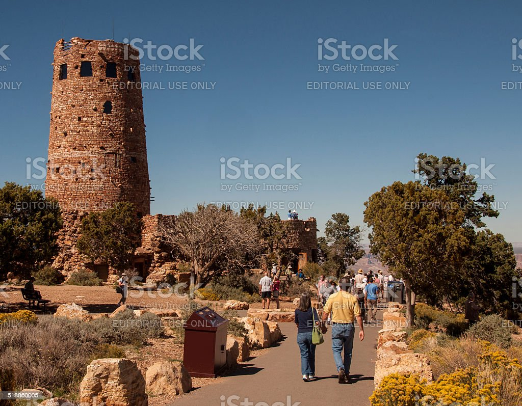 Tourists Visit Watchtower at Grand Canyon stock photo