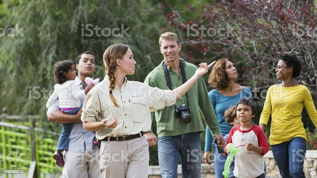 Tourists visiting a park stock photo