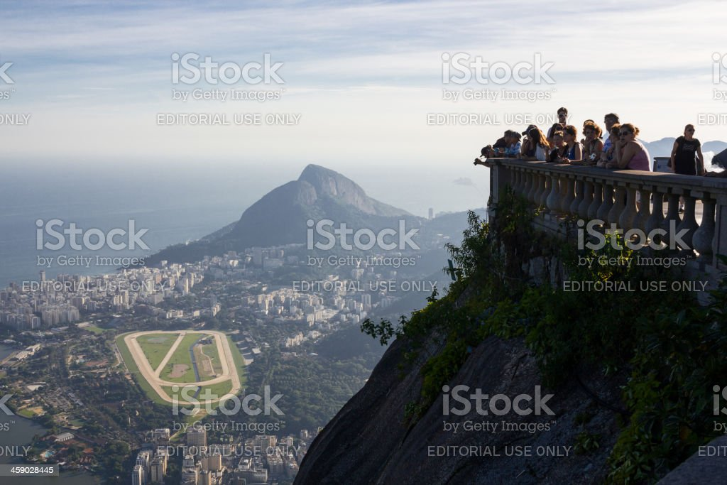 Tourists visiting Christ the Redeemer royalty-free stock photo