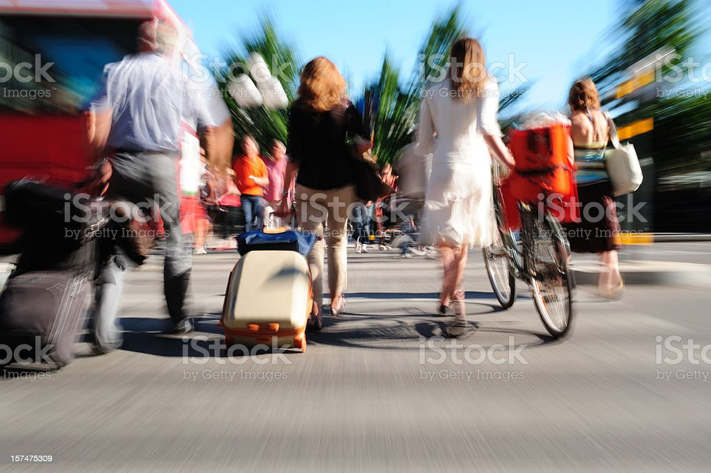 Tourists visiting city royalty-free stock photo