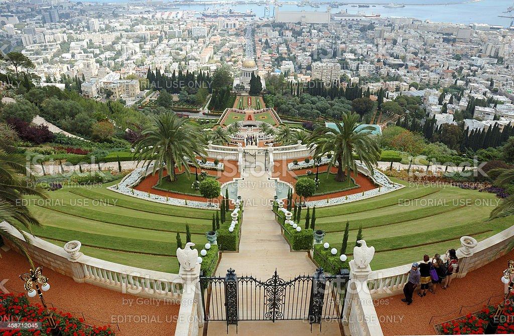 Tourists visiting famous Bahai temple gardens, Haifa,Israel royalty-free stock photo