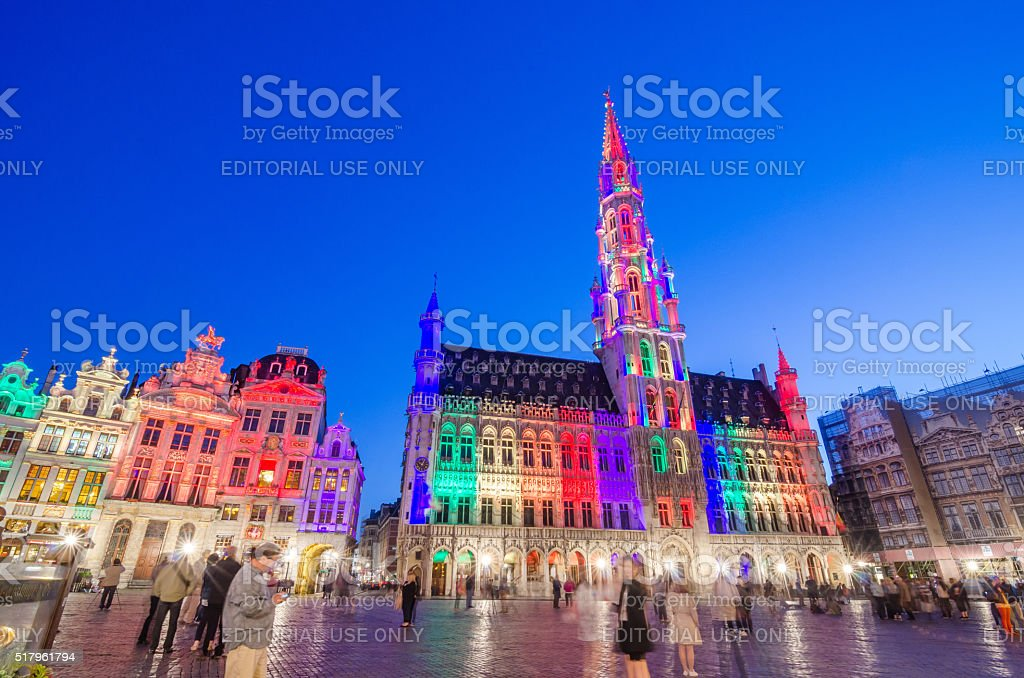 Tourists visiting famous Grand Place (Grote Markt) of Brussels stock photo