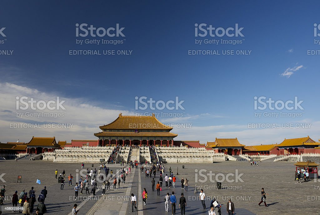 Tourists visiting Forbidden City in Beijing stock photo