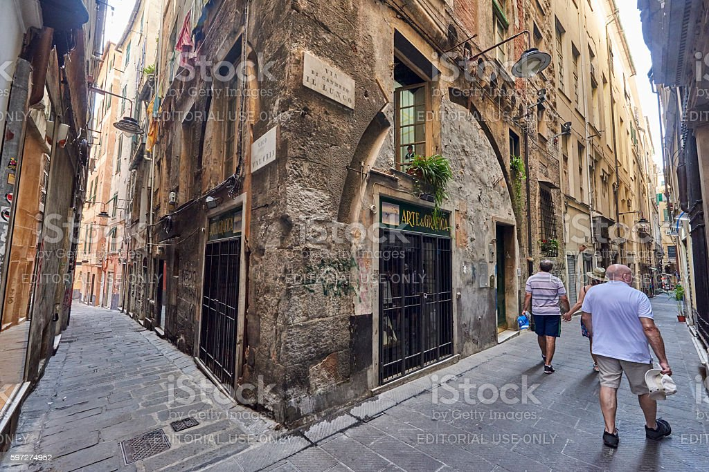 Tourists Visiting Genova Old Town stock photo