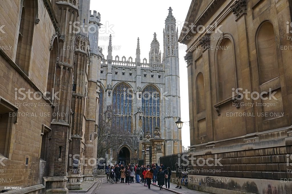 Tourists Visiting King's College Chapel, Cambridge stock photo