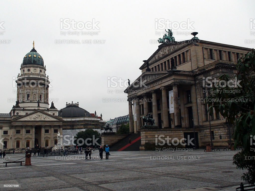 Tourists Visiting Konzerthaus And German Church Situated At Gendarmenmarkt Berlin.Germany.Europe stock photo