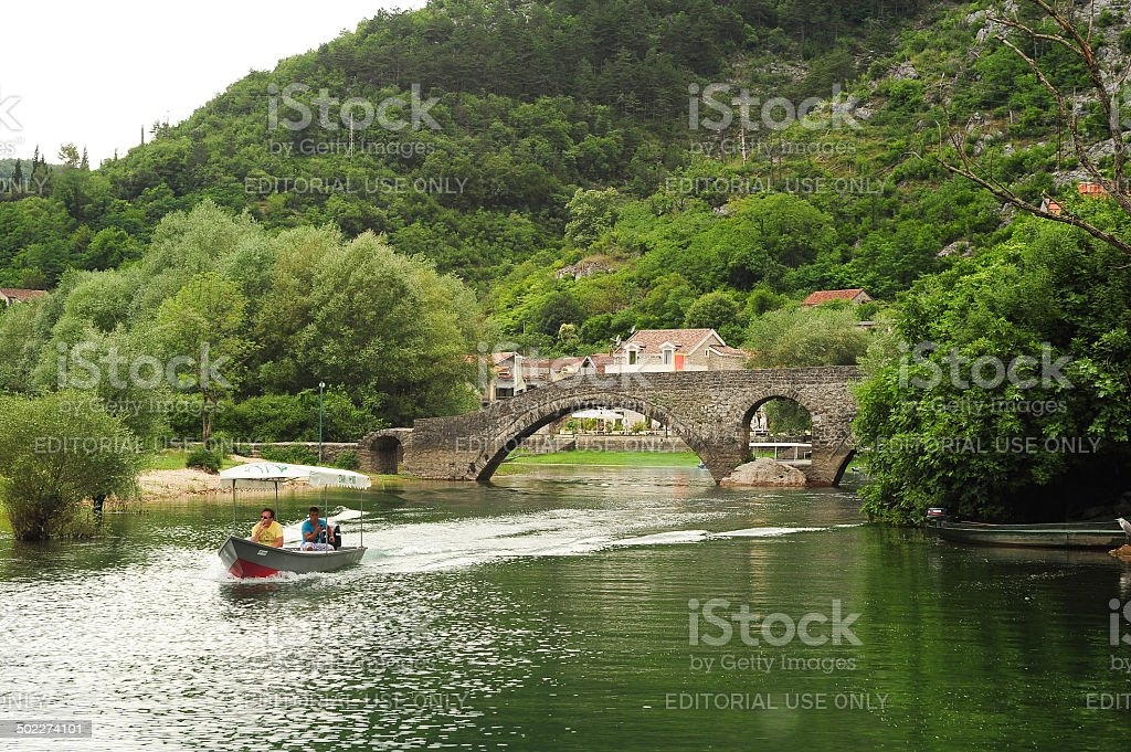 Tourists visiting lake Skadar national park on a boat stock photo
