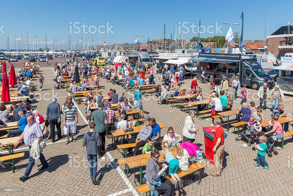 Tourists visiting  the fishing days of Urk, the Netherlands stock photo
