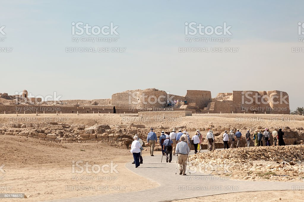 Tourists visiting the Fort of Bahrain stock photo
