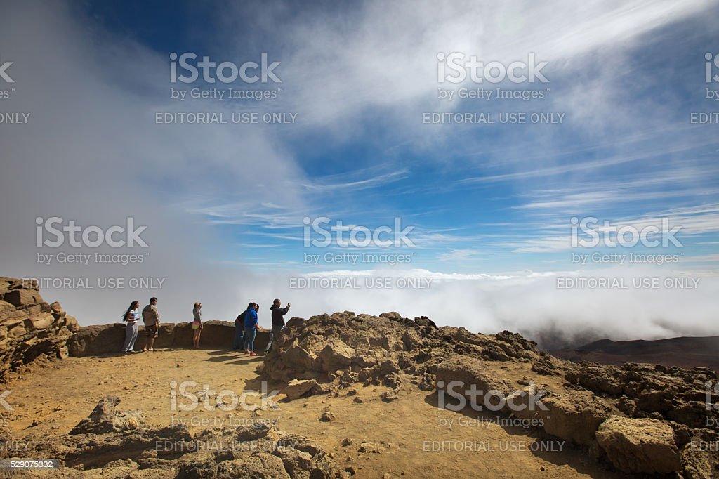 Tourists Visiting the Haleakala National Park, Maui, USA stock photo